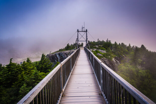 Mile-High Swinging Bridge in fog, at Grandfather Mountain