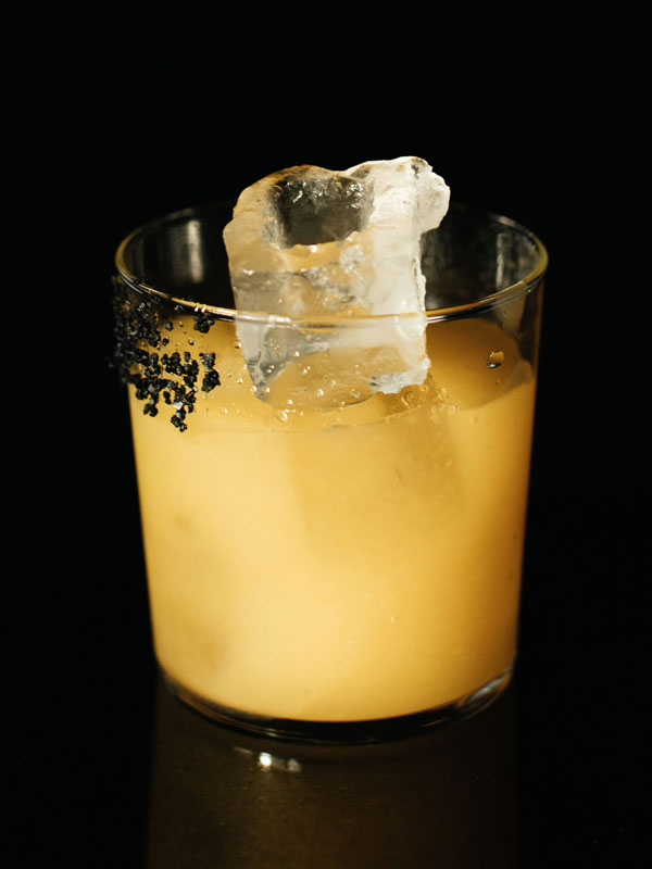 cocktail with black backdrop
