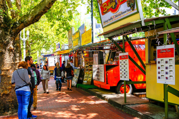 Food trucks in downtown Portland