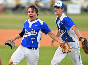 """Joe Bryan and Lawson Griffith celebrate after turning a sweet 4-6-3 double play to seal CPA's win and force the """"if"""" game on Friday. Photo by Jim Killian"""