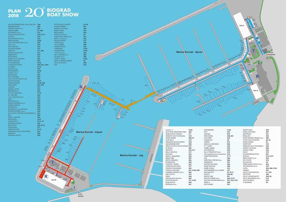 Biograd boat show map