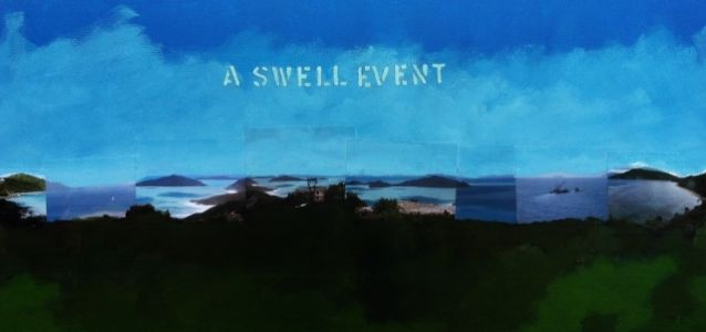 A Swell Event, Acrylic And Collage On Canvas 36in.x17in.