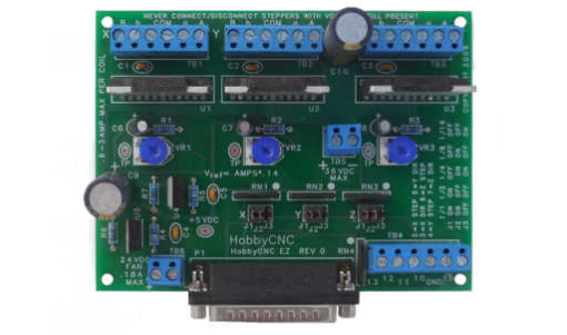 HobbyCNC EZ 3-Axis board, show assembled, drive 3 stepper motors up to 3A each