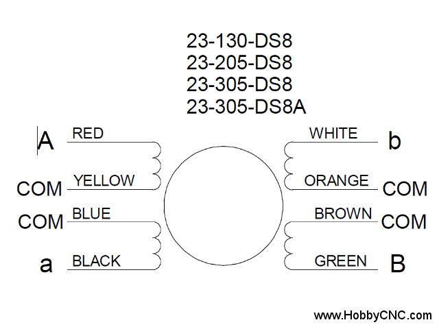 HobbyCNC Stepper Motor Wiring 23-130-ds8 23-205-ds8 23-305-ds8