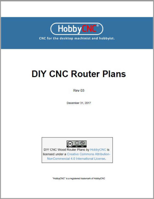 HobbyCNC DIY CNC Router Plans Rev 03 cover page