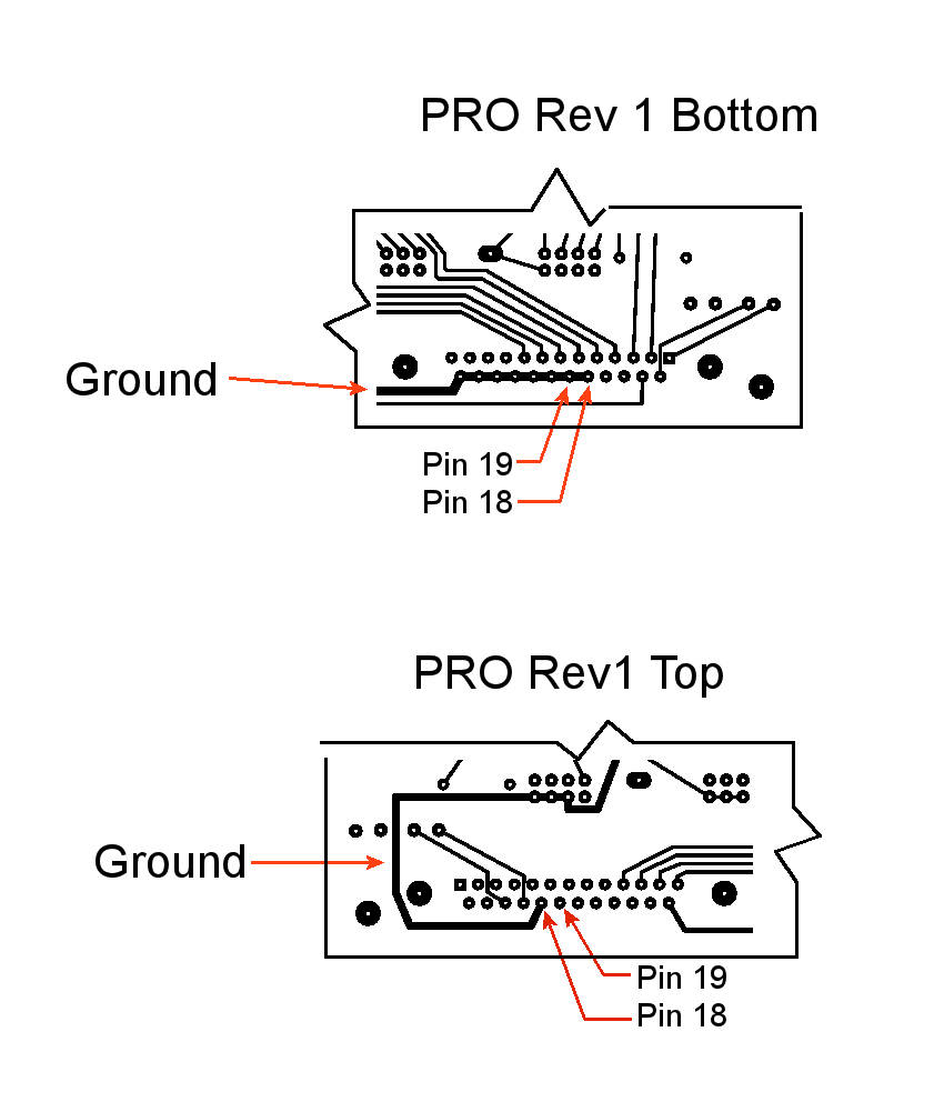 PRO Rev 1 pins 18 and 19