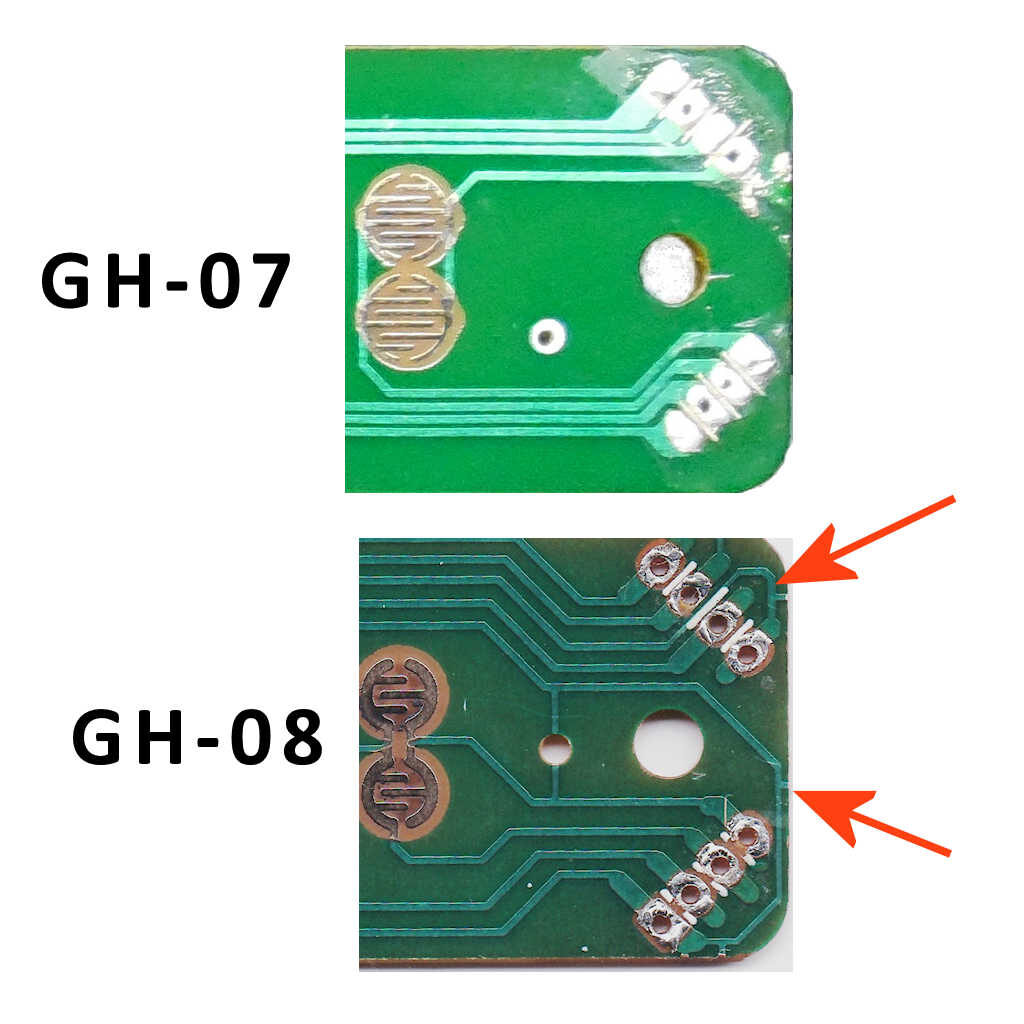 The difference between the GH-07 and GH-08 HobbyCNC Replacement Guitar Hero Fret Boards