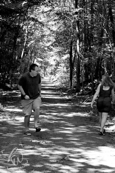 Hiking trail Engagement photo.