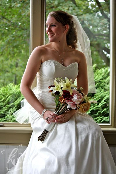 Beautiful bride with bouquet!