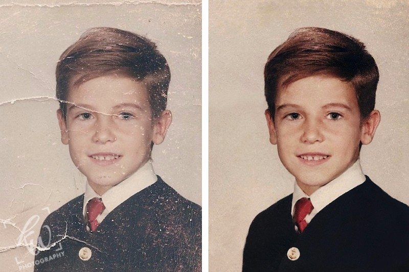 Photo restoration services to remove tears, wrinkles and creases from old photos.