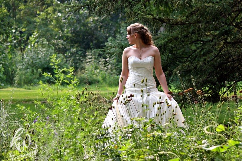 Bride in garden - wedding photography near State College, PA.