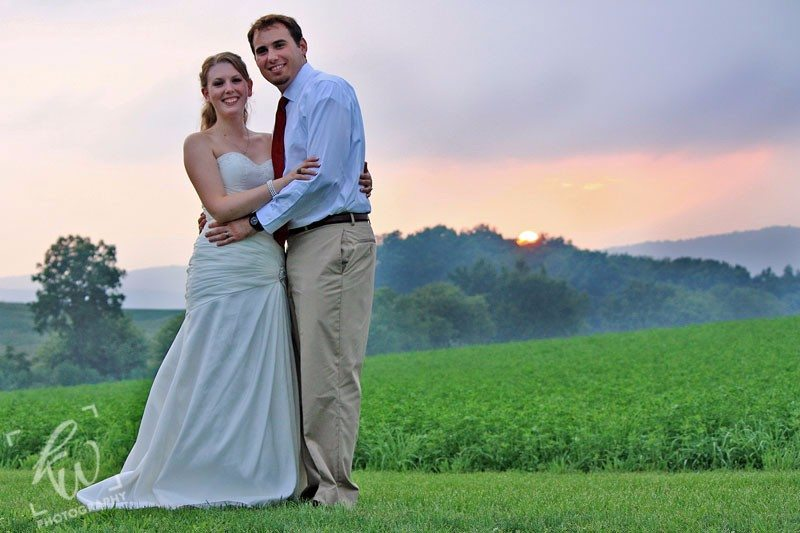 Wedding photography during sunset at PA winery