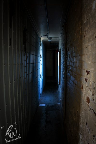 Dark, creepy hallway of the empty part of the Bergen County Jail.