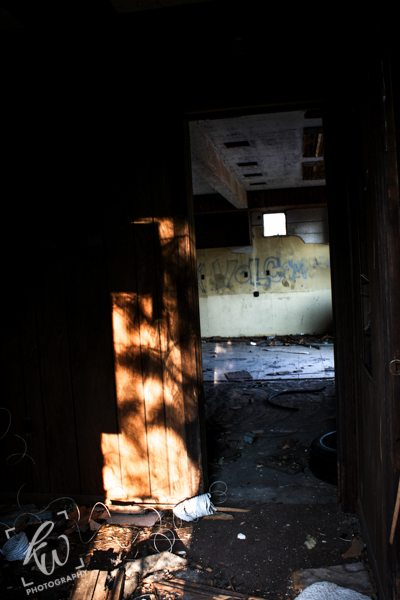 A look through an open doorway into the vacant building near Fricks Lock, PA.