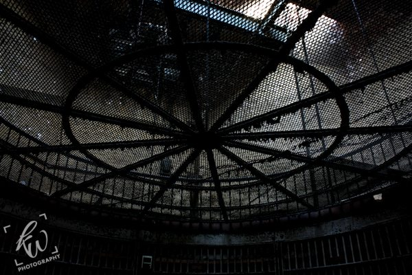 Caged skylight in Hackensack, New Jersey jail.