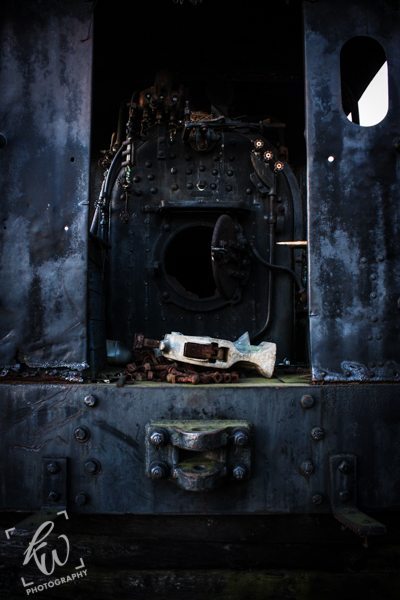 The coal chamber of an old steam train.