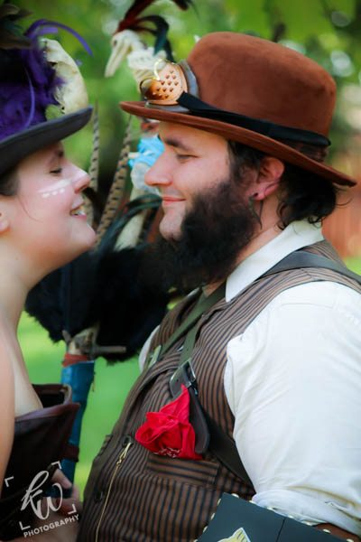 Steampunk Engagement Photography shoot at the Ren Faire.