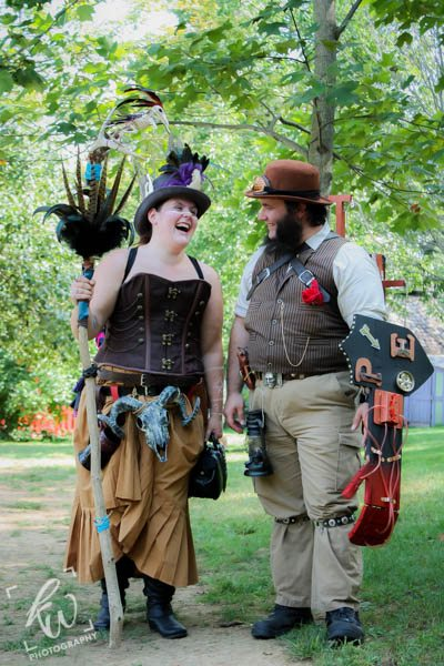 Recently engaged couple at the Pennsylvania Renaissance Faire.