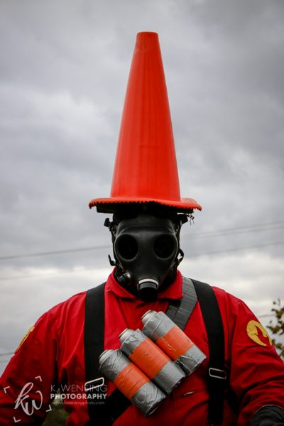 Pyro with his traffic cone hat!