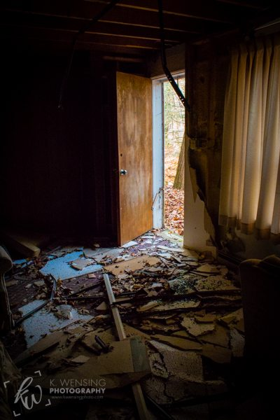 An open doorway through destruction.