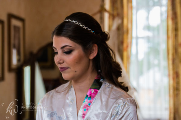 The beautiful bride getting ready.