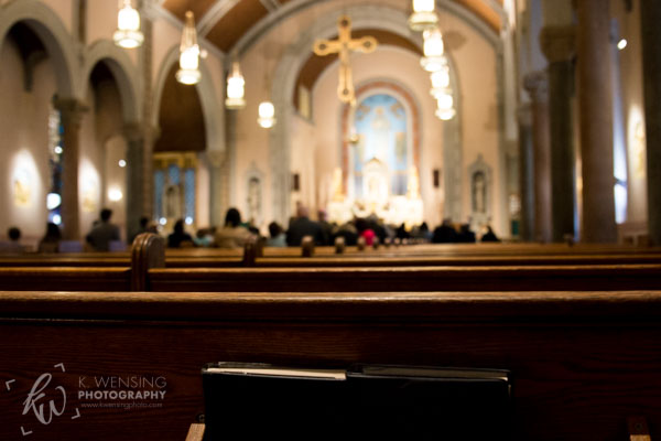 Gazing over the church pews.