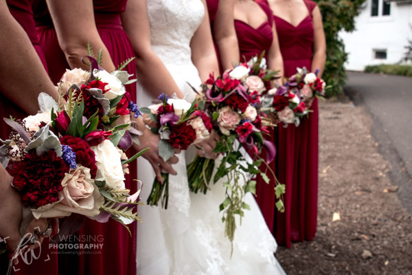 The beautiful bridal party bouquets.
