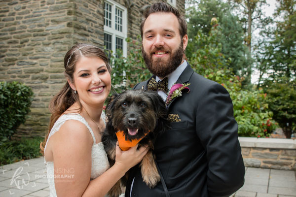 Bride and groom with their adorable pup!