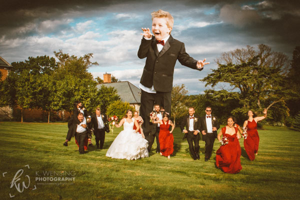 A fun photo manipulation of the wedding party.
