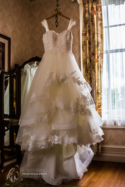 The beautiful wedding gown.