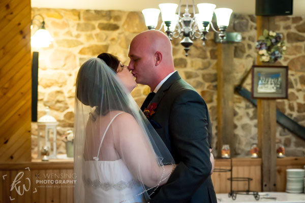 A kiss shared on their wedding day.