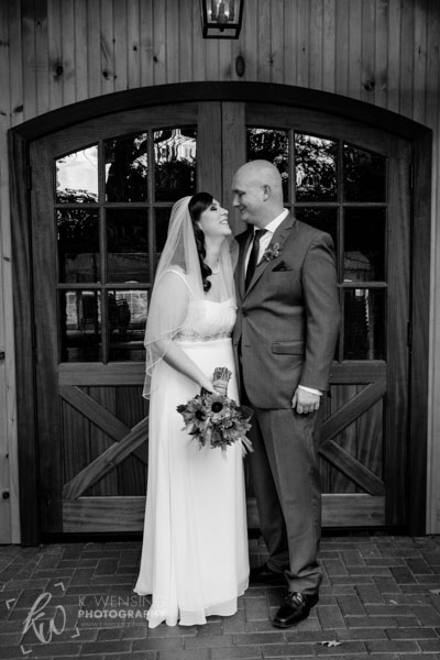 Black and white photo of bride and groom.