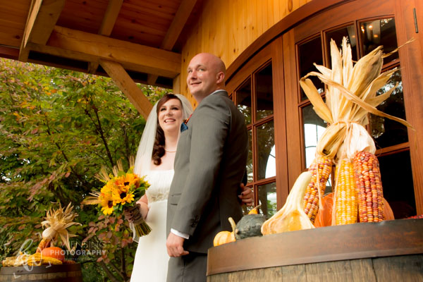 Wedding smiles on a lovely Fall day.