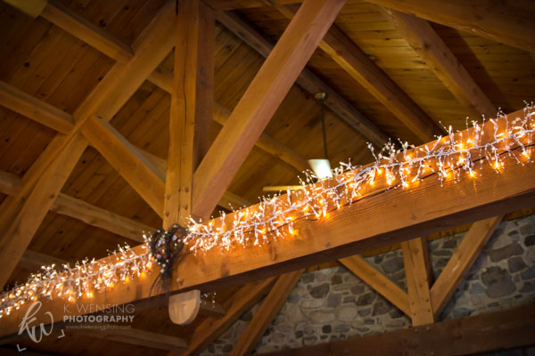 Pretty decorative lights during a Fall wedding.