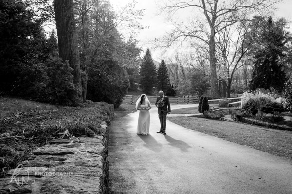 Black and white photograph of newlyweds.
