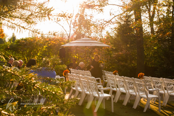 Wedding ceremony as the sun goes down.