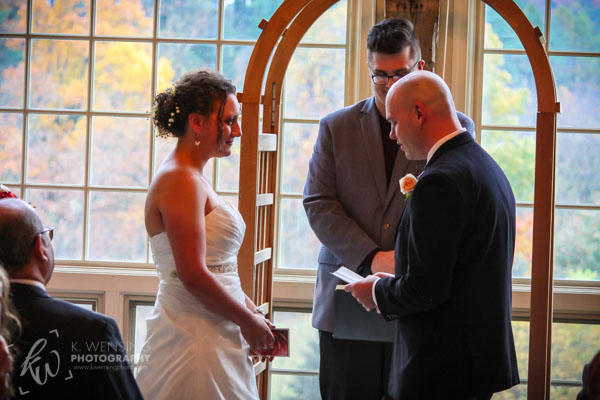 Exchanging vows during the ceremony.