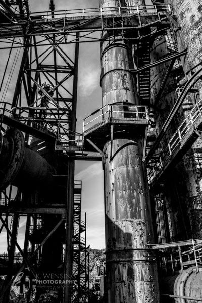 A black and white shot of the stacks at Bethlehem Steel, PA.