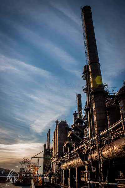 The sun casts its glow over the towering stacks at Bethlehem Steel, Pennsylvania.