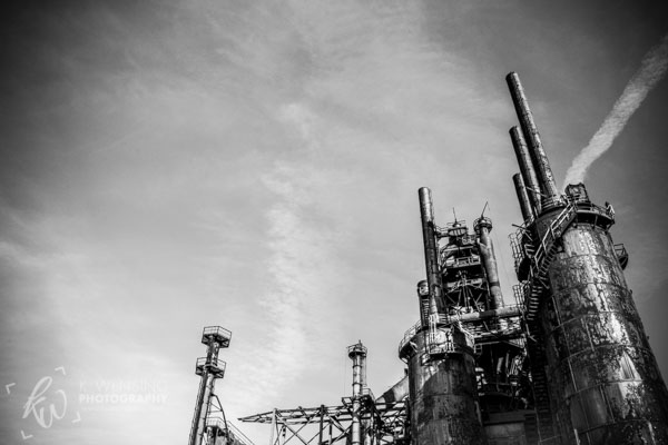 Black and white photograph of Bethlehem Steel stacks.