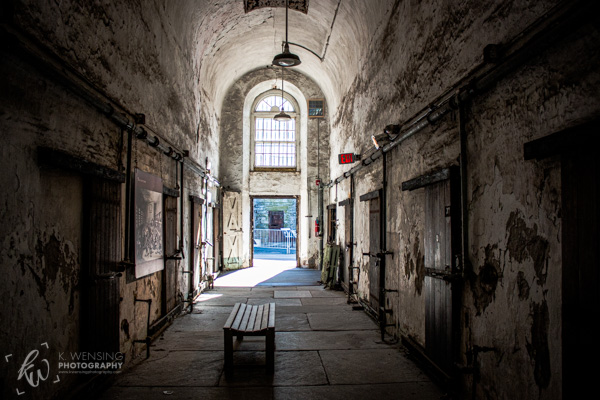 A decaying cell block of an old penitentiary.