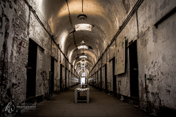Looking down a cell block of the Eastern State Penitentiary.