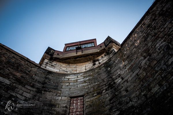 An outside wall of the Eastern State Penitentiary of Philadelphia.