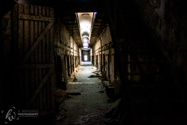 Cell block of the Eastern State Penitentiary.