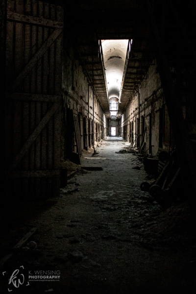 The decaying hallway of a penitentiary block in Philadelphia.