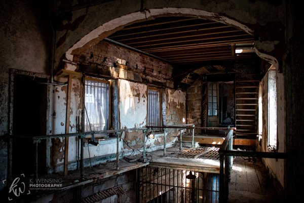 A decaying balcony of the Eastern State Penitentiary.
