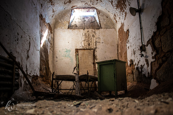 An old, decaying room of the Eastern State Penitentiary.