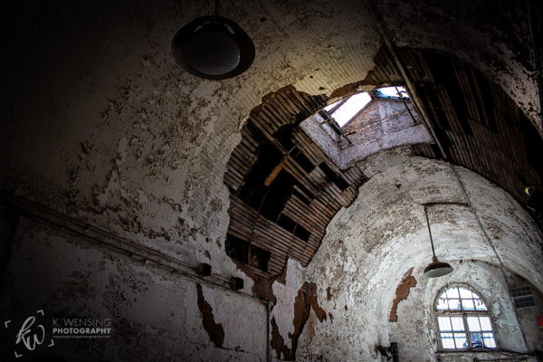 The decaying ceiling in the Eastern State Penitentiary.