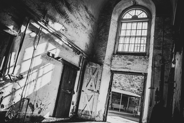 Black and white photograph of part of the Eastern State Penitentiary.
