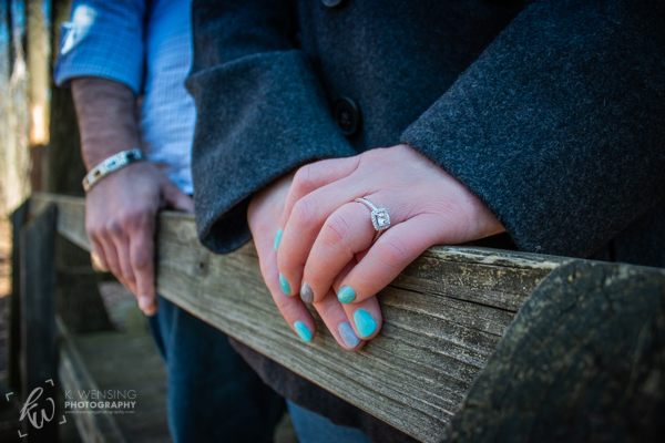 Engagement ring and fancy, teal and gray nails!